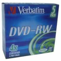 Verbatim DVD-RW 4.7GB 4x Pack 5 unidades