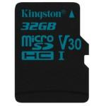 KINGSTON 32GB MICROSDHC CANVAS GO 90/45 U3 UHS-I V30 SINGLE PACK W/O ADPTR