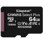 MEMORIA FLASH 64GB CANVAS SELECT PLUS MICROSD SIN ADAPTADOR KINGSTON