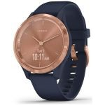 RELOJ INTELIGENTE CON GPS GARMIN VIVOMOVE 3S COLOR ROSE GOLD CON CORREA AZUL - 39MM - PANTALLA TÁCTIL - BT - 5ATM - MULTISPORT