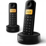 Philips D1602B/34 Teléfono Inalámbrico Duo Negro